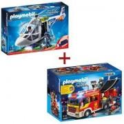 Комплект Плеймобил 5363 Противопожарна кола + Комплект Плеймобил 6921 Полицейски хеликоптер