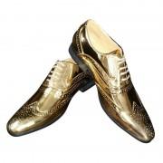 Merkloos Gouden glimmende brogues/disco schoenen voor heren 42 - Verkleedschoenen