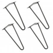 [en.casa]® Štýlové stolové nohy 2 – sada nôh (4 kusová) - 35 cm - strieborné