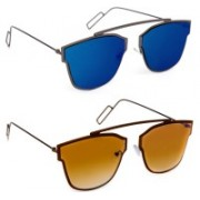 TheWhoop Over-sized Sunglasses(Brown, Blue)