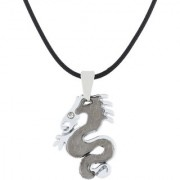 The Jewelbox Punk Biker Dragon Snake Black Surgical Stainless Steel Pendant Necklace Chain For Boys Men