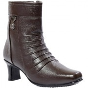 JK Port Women's Brown Synthetic Leather Boot