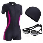 ZXYang Traje de baño Mujer Conservador combinado Gran tamaño Pérdida de peso Vientre Tres piezas Gorro de natación Gafas protectoras (Color : Black red, Size : XL)