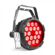Beamz BWA418 LED PAR foco 18x12W 4 en 1 LEDs RGBW IP65 Negro (Sky-150.760)