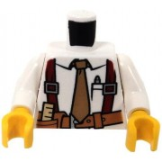 Build-A-Figure LEGO White Minifig Torso Shirt with Tan Tie Red Suspenders Brown Belt with Pocket with Ruler Pattern / White Arms / Yellow Hands x1 Loose