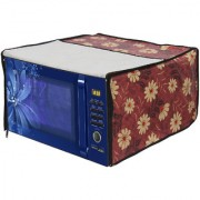 Glassiano Floral Red Printed Microwave Oven Cover for Haier 20 Litre Convection Microwave Oven HIL2001CSPH