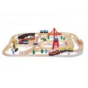 Melissa & Doug Deluxe Wooden Railway Train Set
