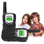 BOOYE Kids Walkie Talkie 22 Channel FRS/GMRS UHF Long Range Two Way Radio (2 Pack of Radios)- Black
