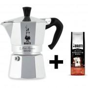 Set Espressor Bialetti 6 cesti + cafea macinta aroma alune 200gr