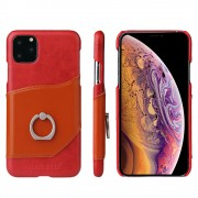 FIERRE SHANN Card Holder Genuine Leather Coated PC Shell with Kickstand Phone Case for iPhone 11 Pro 5.8 inch (2019) - Red