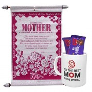 Saugat Traders Best Gifts for Mother/Mom Coffee Mug, Scroll Card and Fruit & Nut Chocolate