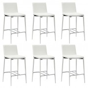 vidaXL Бар столове, 6 бр, бели, изкуствена кожа