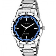 Crude Analog Black Dial Watch With Stainless Steel Strap For Men's Boy's