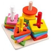 Geometry Column Shape Sort Building Blocks Kids Wooden Geometric Shaped Sorter Color Block Toys