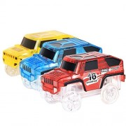 Track Racing Car Toy 3 pcs Truck with LED Lights Glow in the Dark Compatible with Most of Tracks for Boys and Girls Blue Red and Yellow