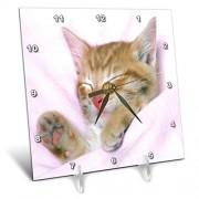 3dRose LLC 3Drose DC_61972_1 Sweetest Little Kitten All Snuggled Up Reloj de Escritorio, 15 cm X 15 cm