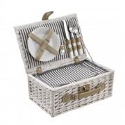[casa.pro]® Piknik kosár - 2 személyes - evőeszköz, pohár, tányér (fehér)