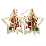 2PCS Christmas Wood Five-Pointed Star Christmas Tree Accessories