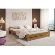 Expedo + R/ Pat din lemn masiv HERA + saltea spumă DE LUX 14 cm + somieră, 140 x 200 cm, stejar-lac