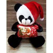 Black and White Panda Christmas Teddy Bear with cap and santa cushion