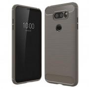 LG V30 Brushed TPU Case - Carbon Fiber - Grey