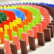 Standard Authentic Wooden Domino Set Multi Colour - 100 Pieces. Fun for Kids