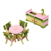 Magideal Dollhouse Miniature Furniture Wooden Toy Kids Dinning Room Set
