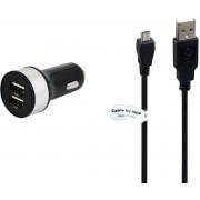 3,4A Autolader. 1 m Micro-USB kabel, geschikt voor Sony NWZ.o.a. Sony Walkman NW-E394 NW-E394B