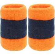 Neska Moda Unisex Pack Of 2 Orange And Dark Blue Striped Cotton Wrist Band