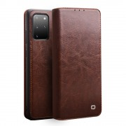 QIALINO Luxury Genuine Leather Cover Wallet Phone Case for Samsung Galaxy S20+ 5G - Brown