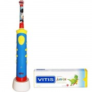 Pachet Periuta de dinti electrica Oral-B Kids Stages Mickey Mouse + Pasta de dinti VITIS Junior 75ml Dentaid