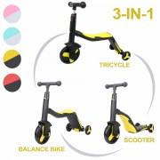 Trotineta multifunctionala, Honor, 3 in 1, Negru/Galben, transformabila in tricicleta sau balance bike, cu lumini si muzica