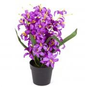 Floare artificială Crin, în ghiveci, violetá, 30 cm