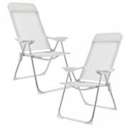 Комплект от 2 броя къмпинг столове [casa.pro]®, 108 x 58 cm, Бял