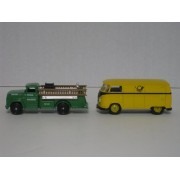 Lledo Days Gone Set of Two Uniquely German Die Cast Trucks: 1955 VW Kombi Panel Van with German Post and a GMC Fire Engine with Feuerwher Erfurt Nr 20: Models 73005 and 95000