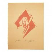 JOHN SEVERSON Original Block Print JOHN SEVERSON 'Surf Fever' Red