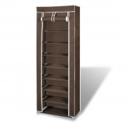 vidaXL Платнен шкаф за обувки с покривало 57 х 29 х 162 см, кафяв
