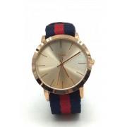 Spy Henry Lau Leather & Color Cotton Strap Classic Wrist Watch Blue/Red SP788AC72RBZHK