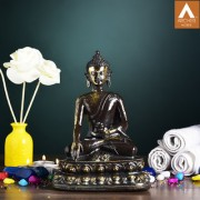 Archies black and golden polyresin decor Medicine Buddha Statue to heal sufferings with lotus base