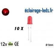 Lot de 10 LEDs rouges diffusante 500 mcd 30 nm 15° ref ld-02