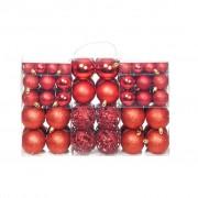 vidaXL Комплект коледни топки от 100 части, 6 см, червени