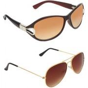 Zyaden Brown Round UV Protection Unisex Sunglasses Combo