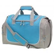 Merkloos Sporttas met schoenenvak 38 liter grijs/lichtblauw - Sporttassen