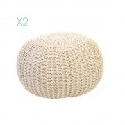 13 Casa Bambino Set 2 pouff Crochet B01, bianco.