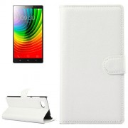 Horizontal Flip Solid color Leather Case with Card Slots & Holder & Wallet for Lenovo Vibe Z2(White)