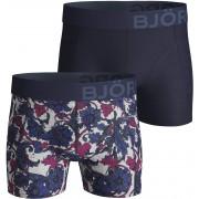 Bjorn Borg Boxershorts 2-Pack Uni und Blumen Dessin - Dunkelblau S