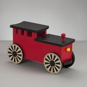 Kids Wooden Riding Toy, Ride On Train - South Bend Woodworks Express Red/Black Engine