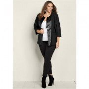 Plus Size Faux Leather Trim Jacket Jackets & Coats - Black