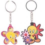 Warner Bros. combo of 2 keychains (Tweety Flower Keychain P 251 & Tweety Floral Keychain M 248)