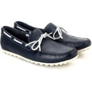 Clarks Kolin Free Navy Leather Loafers For Men(Blue)